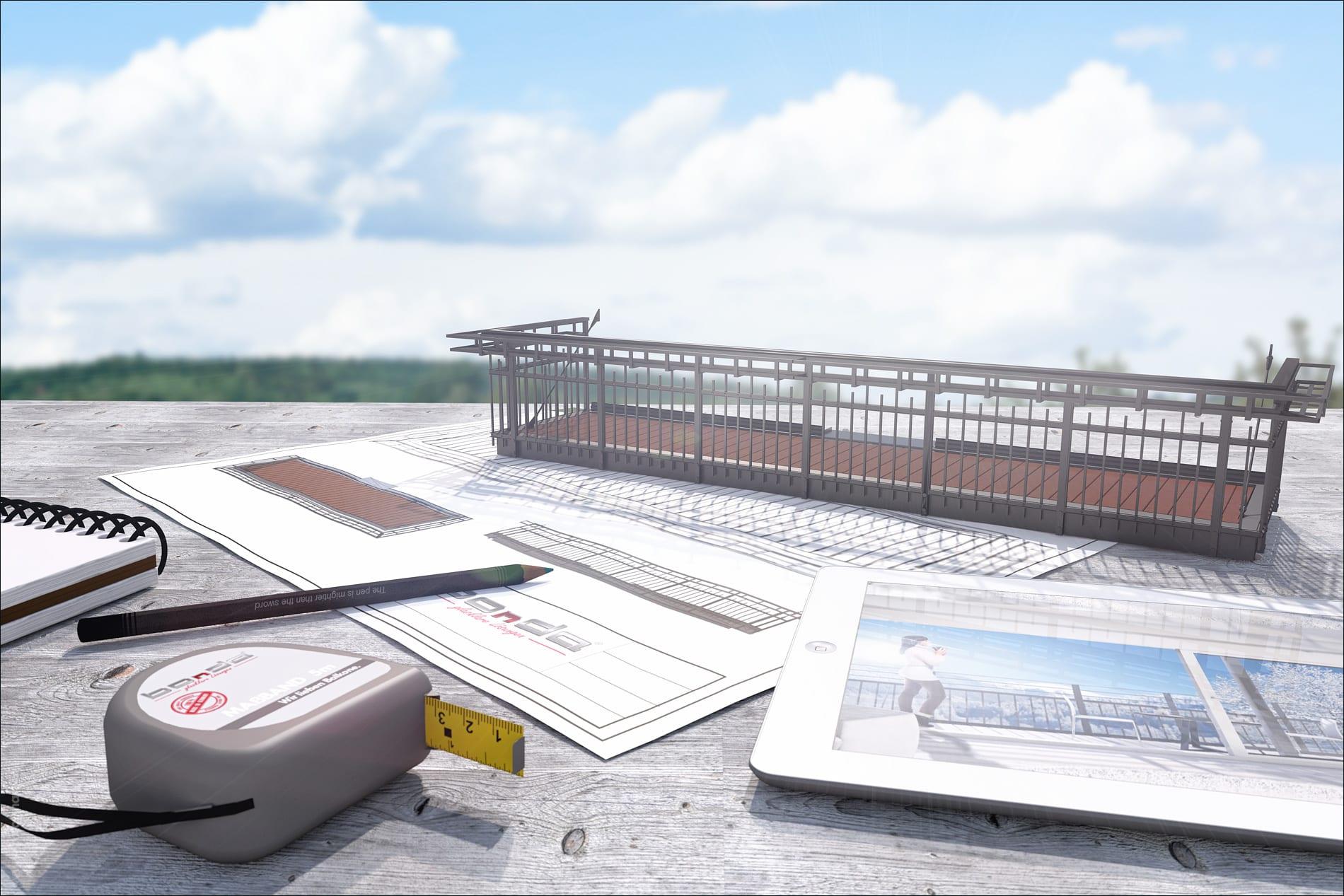 3D Rendering Produktvisualisierung Balkone Produktfotografie